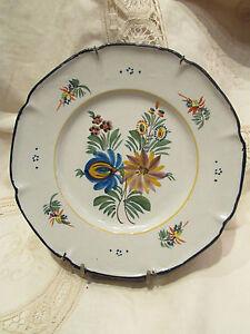ancienne assiette decorative peinte faience de montagnon nevers fleurs ebay. Black Bedroom Furniture Sets. Home Design Ideas