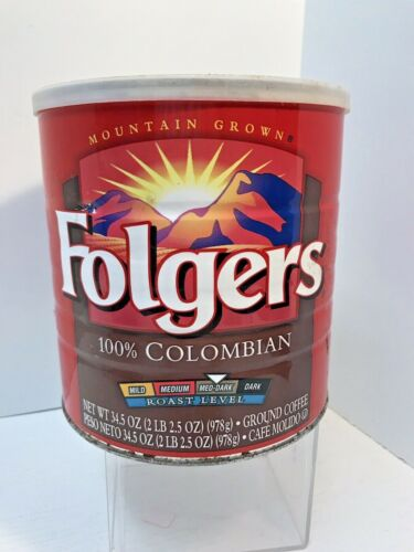 Vintage Folgers Coffee Can w Lid, Columbian Med-Dark Roast 34.5 oz Big Lebowski