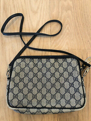 GUCCI 100% Auth Vintage Navy GG Monogram Crossbody Camera Bag NO FLAKING!