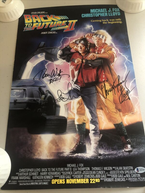 3X WILSON LLOYD THOMPSON SIGNED 14x21 BACK TO THE FUTURE Pt 2 POSTER BECKETT BAS
