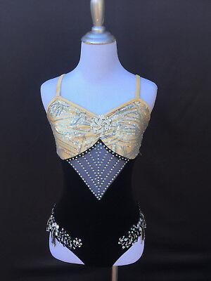 Dance Costume Jazz Child Large Black Velvet Glamour Costumes - Glamour Costumes