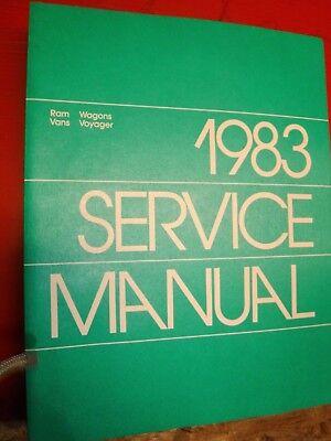 1983 DODGE RAM VAN WAGON PLYMOUTH VOYAGER FACTORY SERVICE MANUAL RWD - 1983 Plymouth Van Wagon