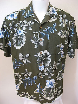 mens hawaiian shirt l short olive green floral milano bay aloha lounge ...