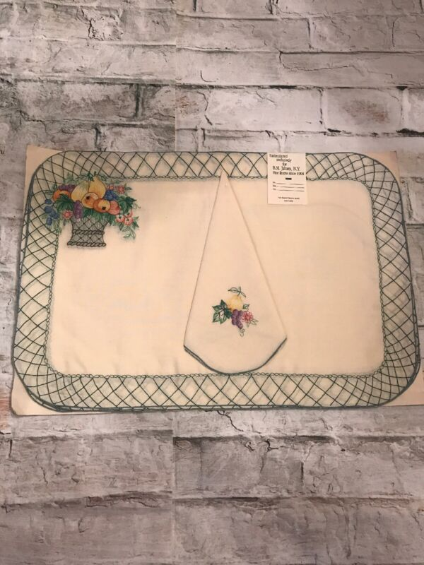 FAB! Vintage Basket Waive Hand Embroidery for B.M.Jabara 8 Piece Place Mat Set
