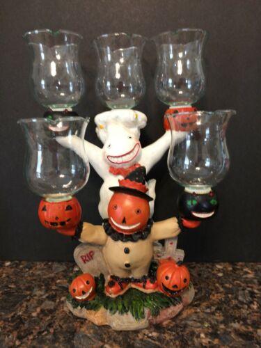 Vintage Halloween Candelabra Pumpkins, Ghost,Cats- 5 Candle Holder