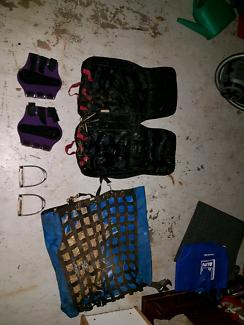 Horse gear feeder  leg cuffs stirrups bridle bag