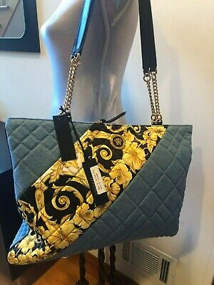 NEW VERSACE GOLD HIBISCUS QUILTED DENIM TOTE BAG HANDBAG