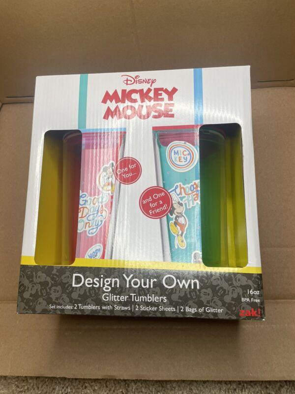 NIB DISNEY Zak! Mickey Mouse Design Your Own Glitter Tumbler Set Of 2, 16 Oz