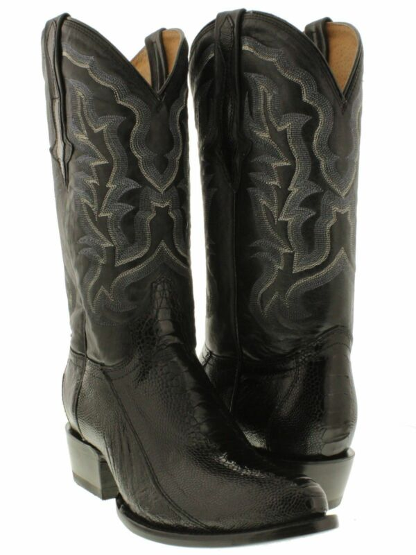 Mens, Black, Smooth, Ostrich, Leg, Exotic, Skin, Leather, Cowboy, Boots, Rounded, Toe