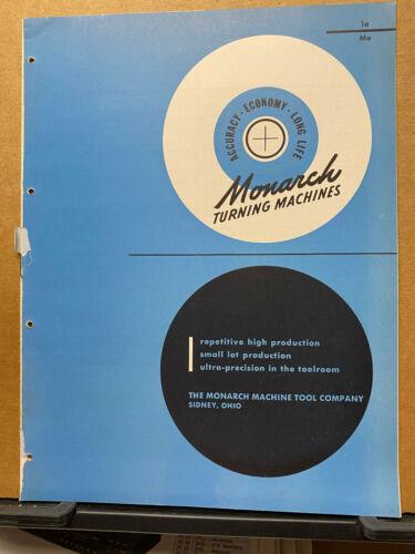 Vtg Monarch Machine Tool Co Catalog ~ Lathes EE NN Toolmaker 70 60 Shapemaster