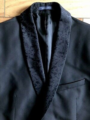 ZARA MAN Mens Summer Suit Collection Blazer Jacket Embellished Black Sz 42 EUC