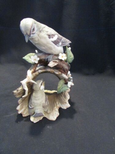 Mocking Bird And Chick  Homco Masterpiece Porcelain  Bird Flower Figurine