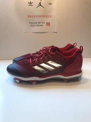 Adidas Men's Power Alley 5 Low Metal Baseball Cleats B39182 Red Size 13