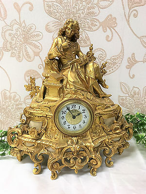 Stunning French Antique Gilt Ormalu Figural Mantel Clock C.1890
