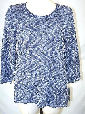 JM Collection Blue 3/4 Sleeve Jewel Neck Sweater Womens Plus Size 0X 10W (3/4 Sleeve Jewel Neck Sweater)