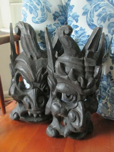 Set of 2 Vintage Asian Chinese Hand Carved Wood Brown Wooden Mask c.1980
