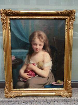 Fritz Zuber-Bühler (1822-1896) - Museales Gemälde Mädchen gibt die Brust um 1890