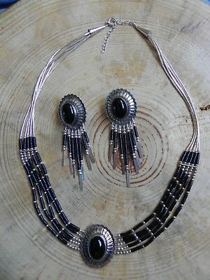 5 Strand Onyx & Liquid Silver Necklace w Pendant & Earrings w Fringe SET Navajo