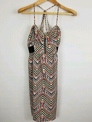 Billabong CrossBack Strappy Sun Dress Aztec Print Womens Large 1/4 Zip 100% Poly