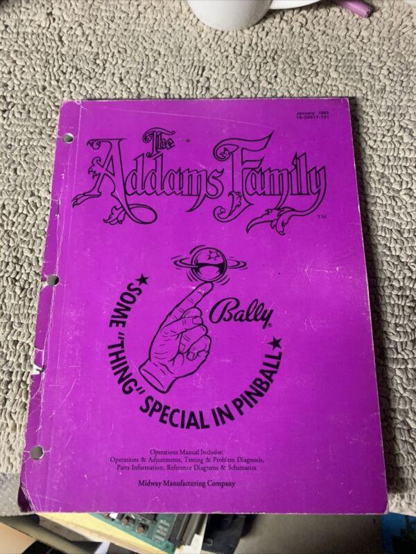 Original The Addams Family Bally Pinball game Manual