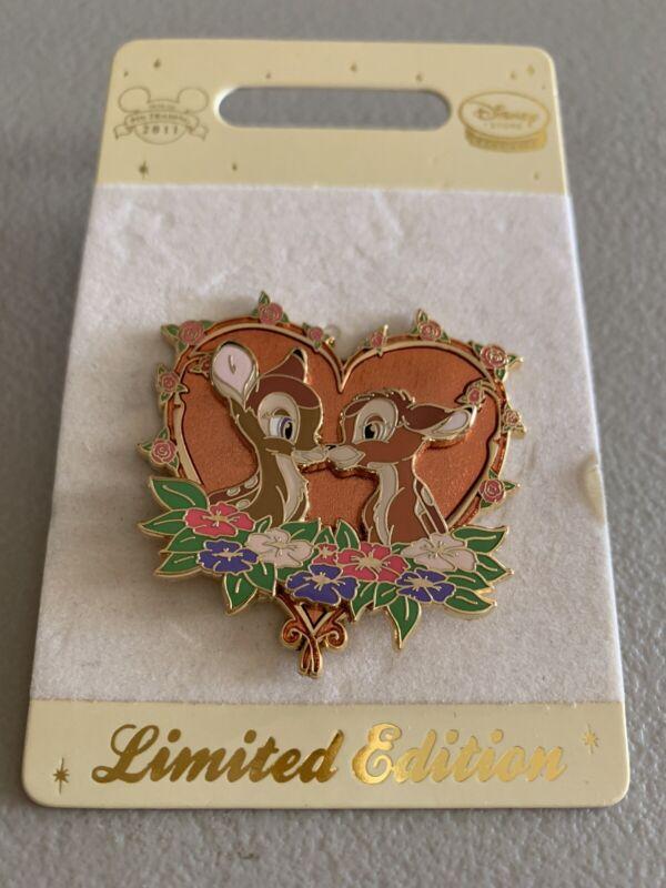 Disney Store UK Europe Bambi & Faline Valentines Glitter Heart Pin LE 500