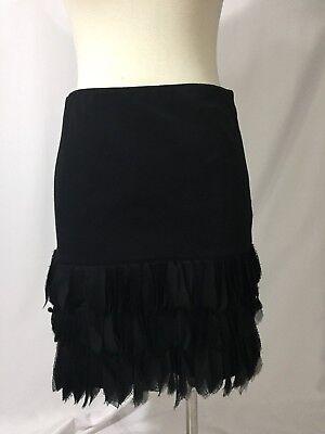 Ann Taylor HATTIE Black Ponte Flapper Gatsby Pencil Fringe Skirt 4 - Black Flapper Skirt