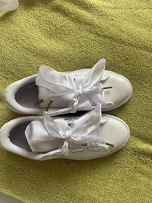 Womens Puma Basket Heart Patent White Trainers Size 6 (39) New In Box