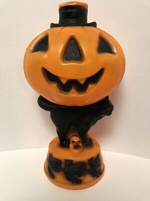 Vintage Halloween Empire Light Up Blow Mold Pumpkin Black Cat and Witches