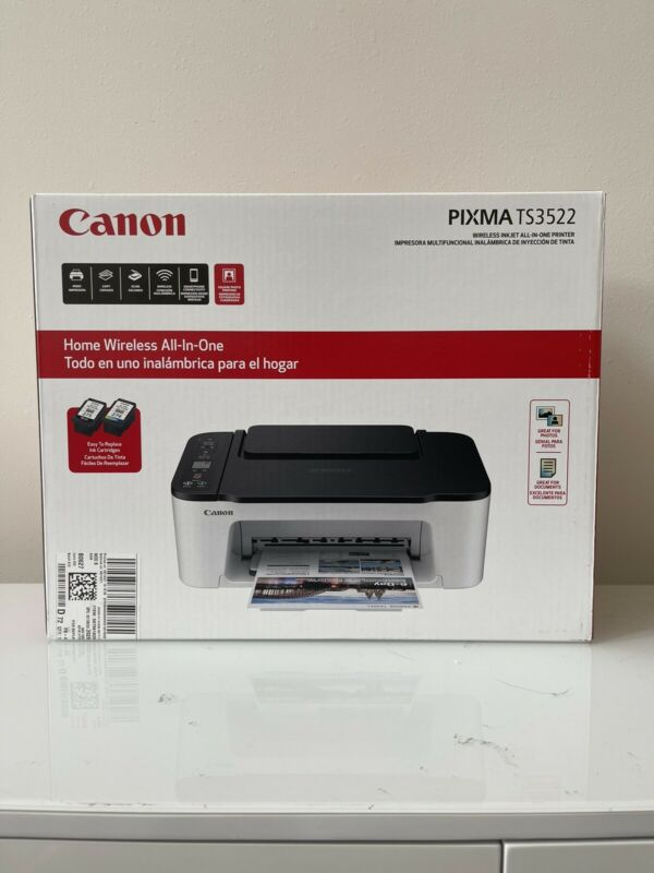 Canon Wireless All-In-One Printer Copier Scanner Wi-Fi TS3522 Plus New Set Ink