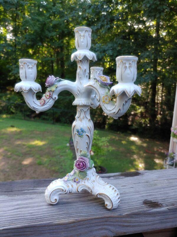 """Antique Royal German Von Schierholz Porcelain Candelabra Roses 11"""" Candleholder"""