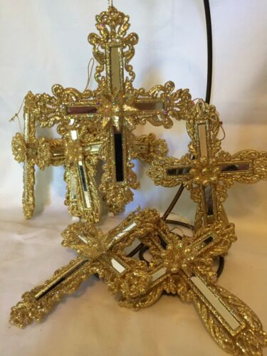 "Golden mirrored CROSS Christmas ornaments 5""X4"" double sided  One ornament"