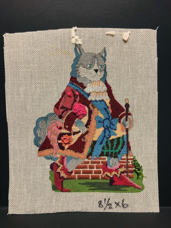 Handpainted Needlepoint Canvas-Victorian Cat Unfinished, Mesh 18ct