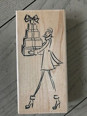 Wood Stamp Fashion - PENNY BLACK FASHION DELIVERY WOOD STAMP LADY WITH GIFTS 4213K