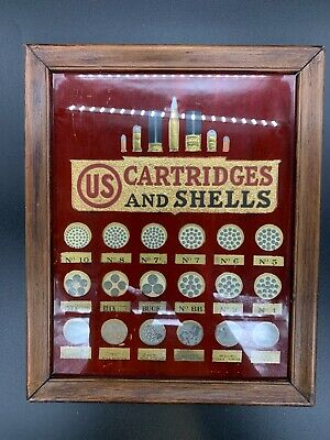 US Cartridge Company Bullet and Shells Board Type Advertising, Shot and Powder
