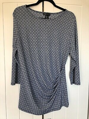 """JNY Jones New York Long Pulled To Side Top 3/4 Sleeve Blue White Size XL (44"""")"""