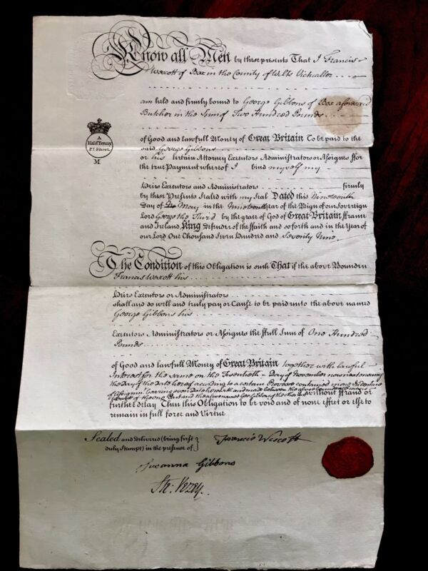 Very Old Document in English 1779