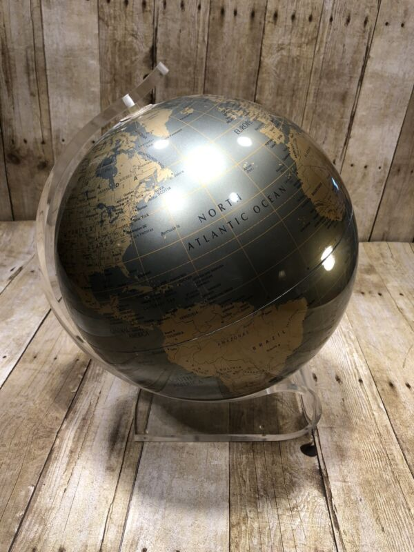 "Replogle Diamond Marquise Lucite 12"" World Globe Mid Century Metallic Vintage"