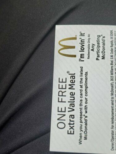 Lot Of 5 McDonalds Combo Meal Card Voucher Certificates  - $10.00