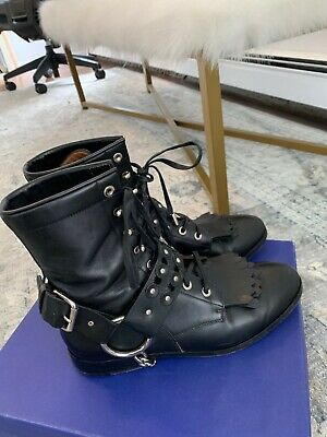 aquazzura black leather boots 37