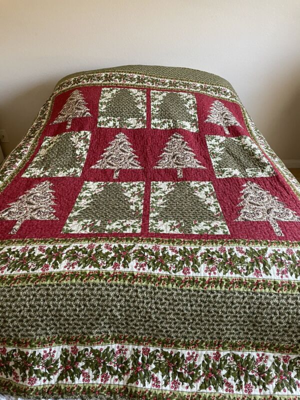 """Stitched CHRISTMAS TREE Cotton PATCHWORK QUILT Bedspread Holiday 86"""" x 86"""" QUEEN"""