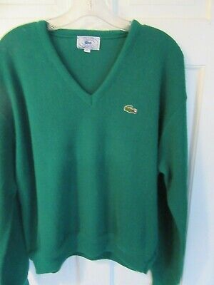 Vintage Izod Lacoste V Neck Sweater Green Men's Size XL