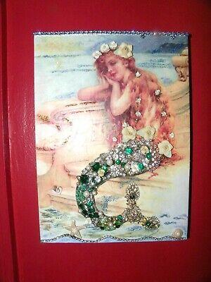 FRAMED VINTAGE COSTUME JEWELRY MERMAID~Decoration & GIFT~MIXED MEDIA  ART