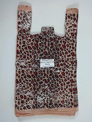 500 Qty. Leopard Print Design Plastic T-Shirt Retail Shopping Bags w/ Handles