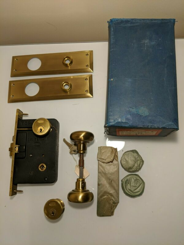 NOS Corbin Brass Cylinder Mortise Door Lock With Keys and Plates - Complete