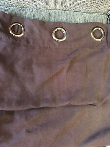 2 Curtain panels, brown suede material