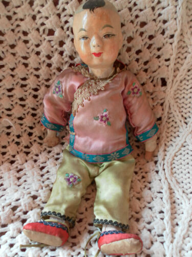ANTIQUE CHINEESE ASIAN DOLL COMPOSITION PAPIER MACHE EARLY 1900
