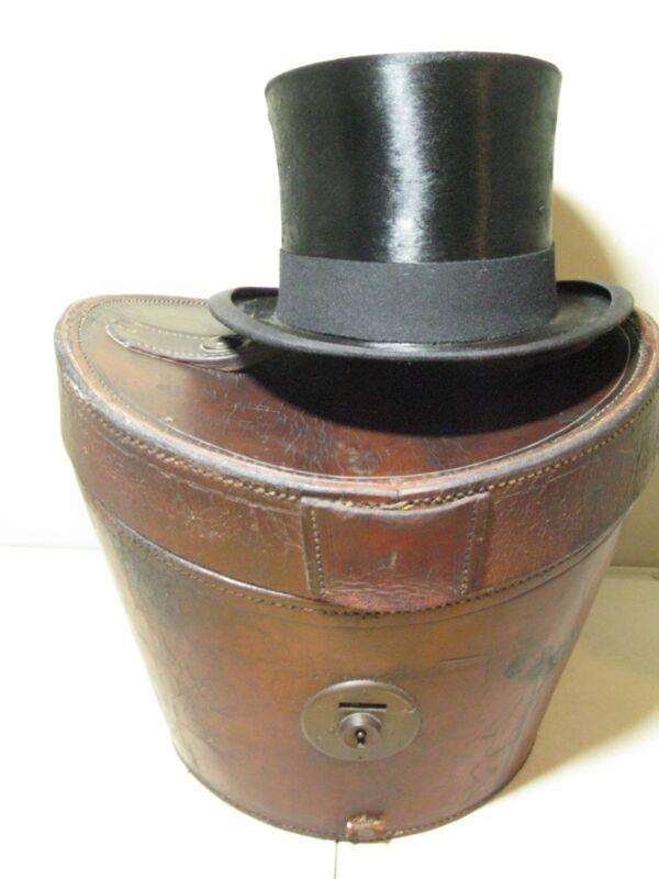 Antique Vintage Leather Top Hat Case Ascot