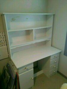White Timber Hutch Desk
