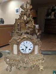 Antique French Bronze Figural mantel Clock Circa 1880-1890