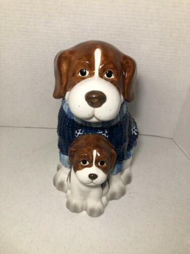 HomeTrends Homespun Holiday Collection Cookie Jar St Bernard Dog & Pup